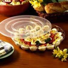 Eierschalen aus Hartplastik, mit sicherem Deckel, für 15 Eier, 30 cm, 2 Stück Devilled Egg Tray