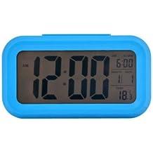 Lilamins Despertadores electrónicos Smart Alarm reloj despertador digital LED Reloj tranquilo y relajado en silencio No marcando el cuarzo reloj alarma,13,8*8*4.3Cm