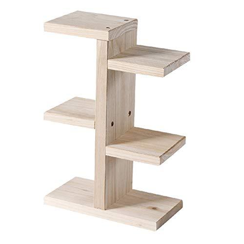 Tisch-Pflanzenständer aus Holz, 3 Etagen, rustikales Holzregal für drinnen und Büro, Garten, Schreibtisch -