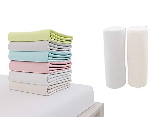 2er Set Spannbettlaken Baumwolle 70x140 cm, für Babybett, garantiert ohne Chemikalien (OEKO TEX-Siegel), Weiß und Beige, Steghöhe 15 cm - Spannbetttuch mit Rundumgummi - 70 x 140 cm Matratzen thumbnail