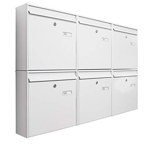 banjado Briefkastenanlage 6 Fach   109x65x10cm groß Stahl weiß DIN A4   Briefkasten Set 6 Briefkästen mit Namensschild, 2 Schlüssel, Montagematerial