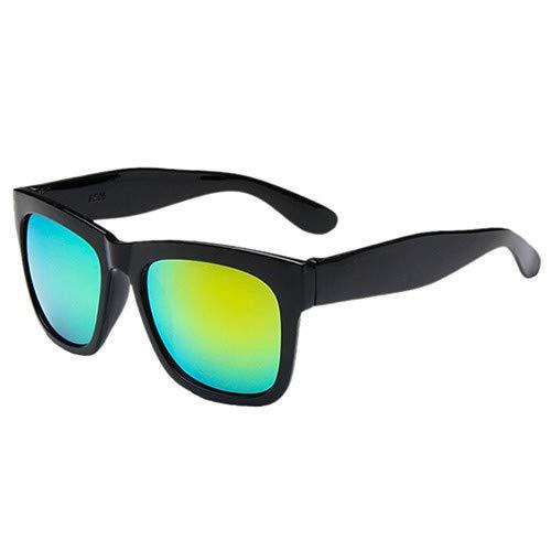 Man9Han1Qxi Sport-Sonnenschutz-im Freien quadratischer Rahmen-Bunte Sonnenbrille-Geschenk-Anti-UVsonnenbrille der Männer Frauen Black Frame Gold Lens