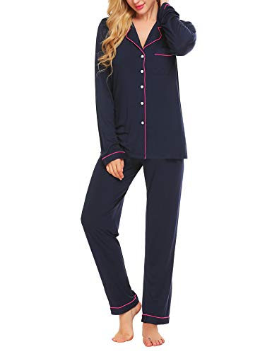 Lucyme Damen Pyjamas Set Elegant Modal Langarm Schlafanzug mit Knopfleiste Zweiteiliger Lang Nachtwäsche Sleepwear XS-XXL, Dunkelblau 337, EU 42(Herstellergröße: L) -