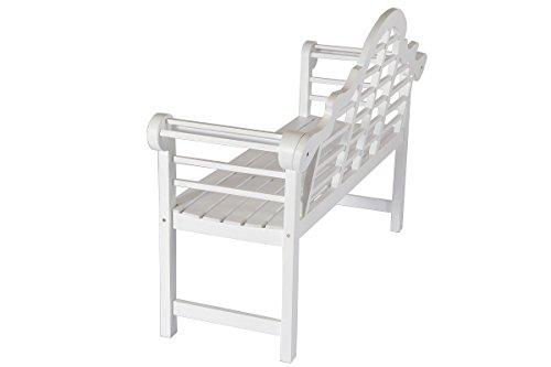 Villana Gartenbank, Holz, weiß, 180 x 90 x 84 cm - 6