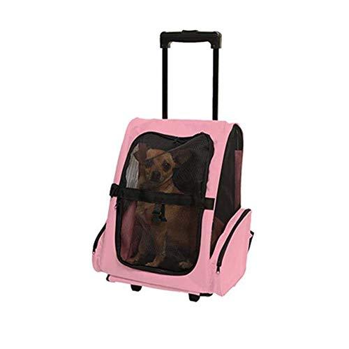 BAIJJ Haustier Rucksack Trolley, Tragbare Katze Hund Tragetasche Gepäck Box Rucksack mit Rollen Teleskopgriff, Komfortable atmungsaktive Rucksack, rot/blau/pink, 36 * 30 * 49cm