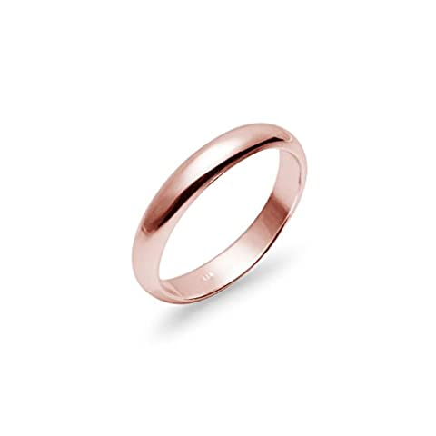High Polish 4mm Plain Comfort Fit Wedding Band Ring Rose Gold Flashed Sterling Silver, Size 5 1/2