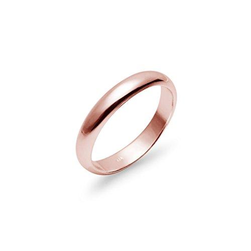 Anello fede nunziale in argento sterling molto lucido e comodo, 4 mm, oro rosa-argento incamiciato, 14, cod. n2f-r-1072-14