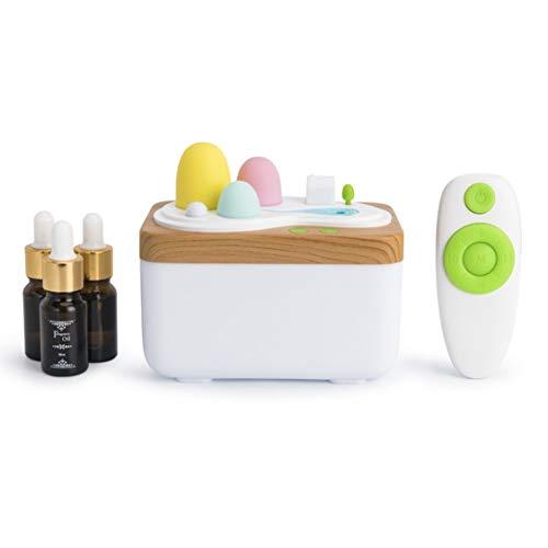 Lavendel Luft (420ml Lavendel Luft Ultraschall Luftbefeuchter Ätherisches Öl Diffusor Zerstäuber Lufterfrischer Nebel Hersteller mit LED Nachtlicht - Weiß)