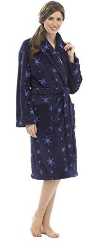 Mesdames imprimé Star en polaire chaud Peignoir de bain Peignoir Tailles S/M–ln304 Bleu - Bleu marine