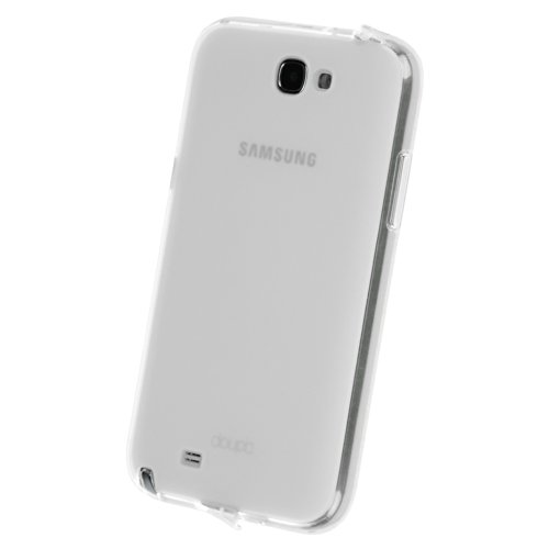 doupi PerfectFit TPU Custodia per Samsung Galaxy Note 2, Tappi di Polvere incorporatin Mat Trasparente Cover, Bianco