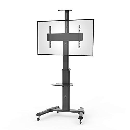 conecto LM-FS02G Professional TV-Ständer Standfuß für Fernseher Flachbildschirm LCD LED Plasma höhenverstellbar 37-70 Zoll (94-178 cm, bis 50 kg Tragkraft) max. VESA 600x400mm, Aluminium, schwarz
