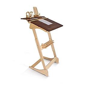 ALNETI Stehpult Stehtisch für Erwachsene Typ D- Holz – Tisch höhenverstellbar – Kontorka – Gestell unlackiert (Tischplatte Nuss, hell) Adjust Standing Desk