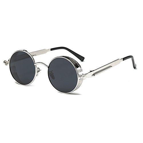 AMZTM Kleine Rund Verspiegelt Linsen Polarisiert Punk Sonnenbrille für Damen und Herren, Silber/schwarzgrau,