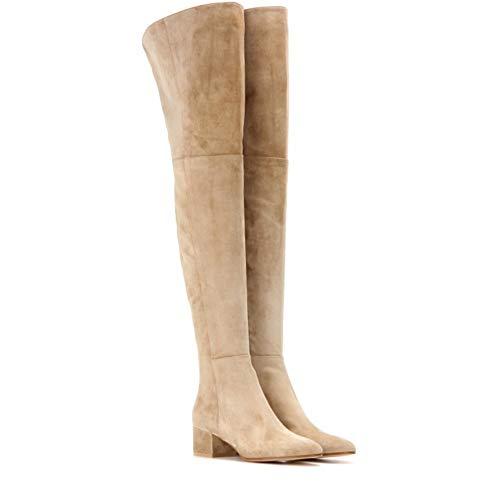 HN Boots Damen Oberschenkel hoch Stiefel Overknees Blockabsatz Heels Stiefeletten Über Das Knie Schuhe Zipper Size EU 35-42,Apricot,EU41/UK7.5 -