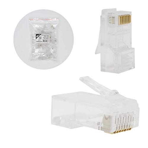 I-CHOOSE LIMITED Modularer Stecker 8p8c für Festes CAT6 LAN Kabel - 50 Stück pro Beutel -