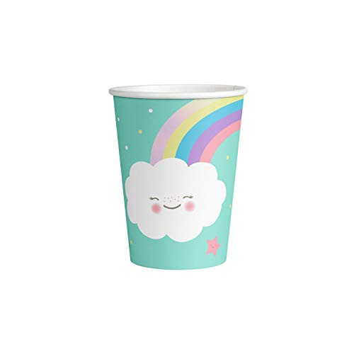amscan 9904301 8 Papierbecher Rainbow & Cloud, 250 ml, Mehrfarbig