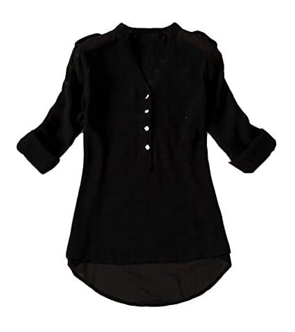 Damen Langarmshirts Hemdblusen Chiffon Langarm V-Ausschnitt Lockere Mit Taschen Mit Knöpfen Vorne Kurz Hinten Lang Bluse Shirts Tops