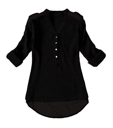 Camicia Donna Estate Chiffon Top Elegante V Scollo Taglie Forti Tasca Frontale Puro Colore Casual Manica Lunga Blusa Sciolto Shirt Ufficio Sottile Camicetta Nero
