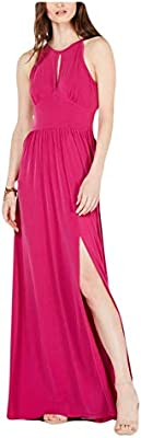 Michael Michael Kors Women's Keyhole Maxi Dress (Deep Fuchsia, Large)