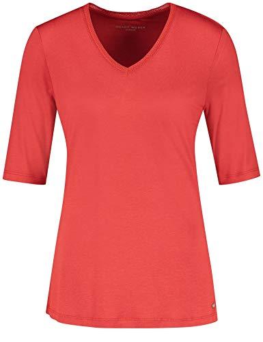 Gerry Weber Damen Shirt Mit V-Ausschnitt Figurumspielend, Tailliert Aurora Red 48 -