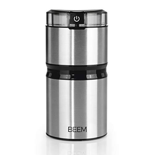 BEEM Aroma Deluxe   Elektrische Kaffeemühle   Flachklingenmahlwerk   Kaffeebohnen, Nüsse, Gewürze [150 W, 60 g, Edelstahl]