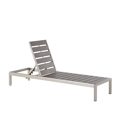 Beliani Nardo Gartenliege, Aluminium, Grau
