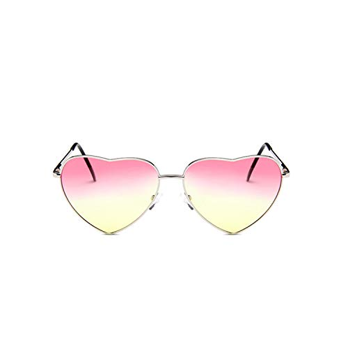 Sportbrillen, Angeln Golfbrille,NEW Vintage Heart Sunglasses Women Brand Designer Candy Color Gradient Sun Glasses Outdoor Goggles Party Oculos De Sol silver pink yellow