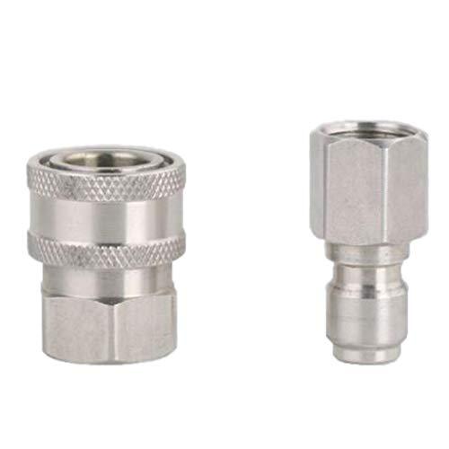 B Blesiya 2tlg Hochdruckreiniger Kupplung Stecknippel Schnellkupplung, 3/8 Zoll Quickconnect(male+female)