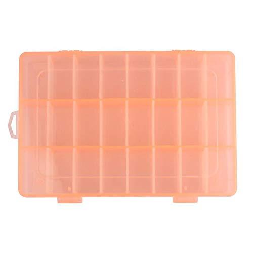 Aufbewahrungsbox für Tabletten, Schmuck, Ohrringe, Nagelkunst, verstellbar, Kunststoff, transparent, 24 Stück, Orange, Einheitsgröße