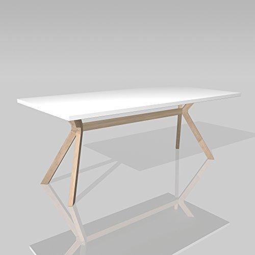 lounge-zone Marken-Konferenztisch KOZANI, weiß, Tischbeine Massivholz Buche natur, 200x100cm 13560