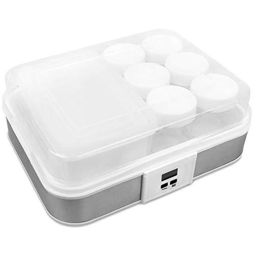 Sotech - Maquina para Hacer Yogur Casero, Yogurtera, tazón de yogur con colador y 6 tazas, con temporizador, 30,6 x 25 x 12,4 cm, Blanco, Capacidad por frasco: 0,21 L, Potencia: 21,5 W