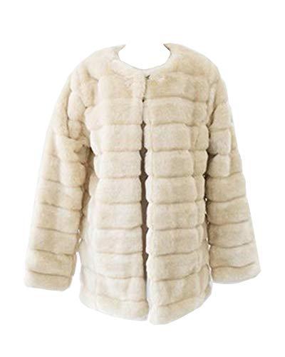 Guiran donna cappotto in pelliccia sintetica senza collo elegante giubbotti maniche lunghe di finto pelo caldo beige xl