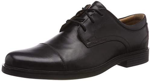 Clarks Un Aldric Cap, Zapatos de Cordones Derby para Hombre, Negro Black Leather-, 40 EU