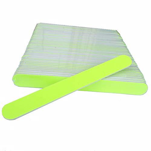 50X Gerade Double Side Design Nagel Feile 100/180 Fluorescent Yellow Plastic Salon UV Gel Maniküre Dateien DIY Nagel-Make-up-Tool -