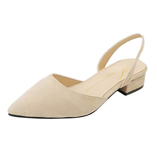 OSYARD Damen Slingpumps,Frauen Slingback Pumps, Knöchelriemchen Bequem Komfort Spitz Sandalen Slipper Sommerschuhe Sandaletten - Samtweste