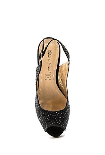 CHIC NANA . Chaussure Femme Sandales compensées haute plateforme suédine, strass diamant fantaisie. Noir