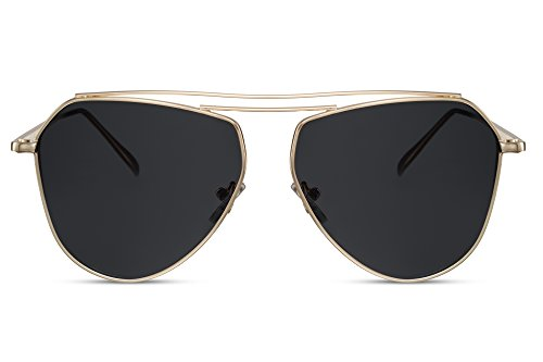 Cheapass Piloten-Sonnenbrille Aviator Gold Grau UV-400 Designer-Brille Metall Damen Herren