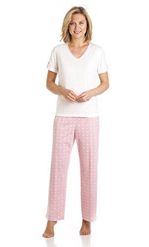 Motif nautique femme à manches courtes Col en V Pantalons de pyjama pyjama Rose - Rose
