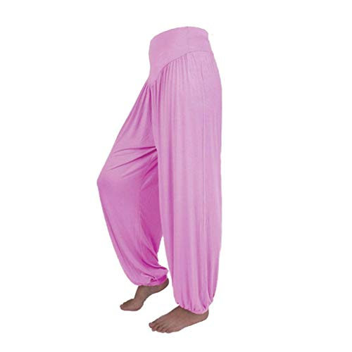 Pants Harem Yoga Pilates Sarouel Femmes Pantalon Fluide Femme SANFASHION(Rose Fluide,XL)