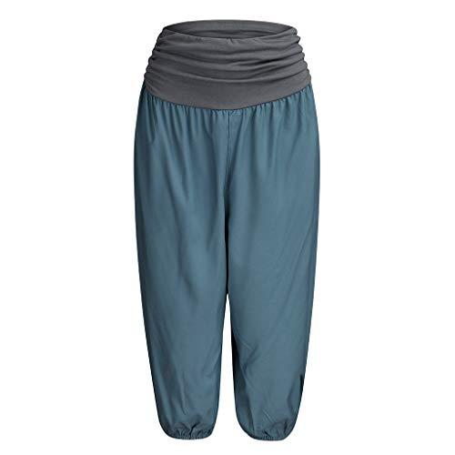 Haremshosen Damen Caprihose Breite Beinhosen Stretch Freizeithose Casual Fest Shorts Hosen Splice Elastic Band Baggy Hosen, Marine (Marine-blau-schwangerschafts-hosen)