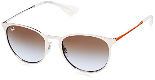RAYBAN JUNIOR Unisex-Erwachsene Sonnenbrille Erika Metal, Brushed Silver/Lightbluegradientbrown, 54