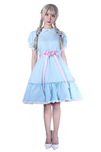 NSPSTT The Shining Grady Twins Lisa Louise Cosplay Kostüm blau Kleid Damen Halloween Kleider (38, Blau 1)
