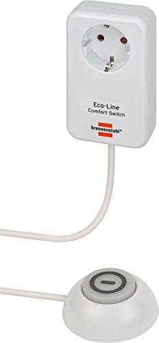 Brennenstuhl Eco Line Comfort Switch Adapter EL CSA 1 (Steckdose mit beleuchtetem Hand-/Fußschalter, mit Kinderschutz, 1,5m Kabel)