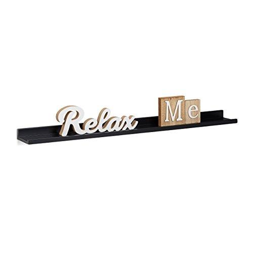 Relaxdays Hängeregal schmal, längliches Wand, Wandboard schwebend, MDF, HBT: 3,5x80x10cm, schwarz...