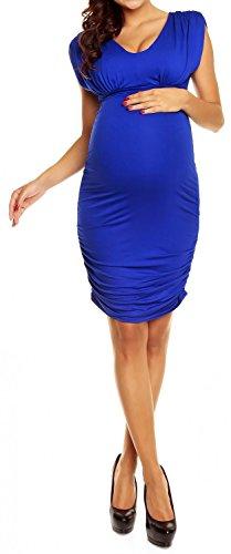 Happy Mama Femme maternité robe de grossesse près du corps sans manches 525p Bleu Royal