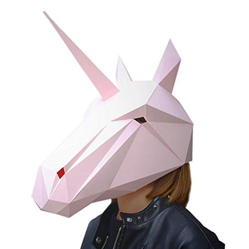LJQ Halloween-Maske DIY Kreative Pferde Partys Kostümtanz Party Neuheit Tier Kopf Maske Requisiten,Silver
