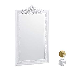 Relaxdays Barock Spiegel, Zierrahmen Antik Barock Design, Wandspiegel zum Aufhängen, Flur & Wohnzimmer, Nostalgie, weiß