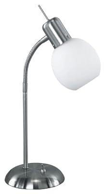 TRIO-Leuchten 573810107 ES-Tischleuchte, inklusiv 1 x E14, 11W, Spirale, Höhe max. 40 cm, Nickel matt, Glas opal matt, ø 10 cm, weiß von Trio Leuchten auf Lampenhans.de