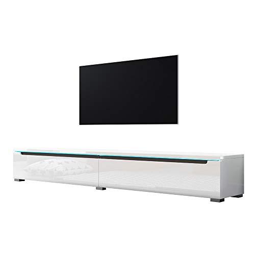 Swift - Fernsehschrank/Tv-Lowboard In Weiß Hochglanz Mit Led Hängend Oder Stehend 180 Cm