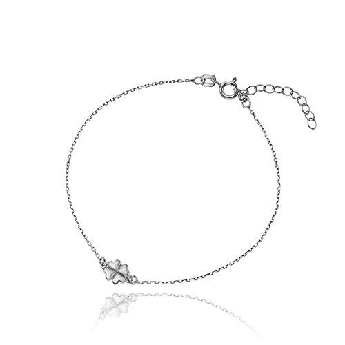 LillyMarie Damen Armband Sterlingsilber 925 Kleeblatt längen-verstellbar  Satin-Beutel, Geschenkideen beste Freundin 51bfd88c50